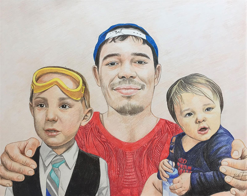 Beautiful color pencil drawing of a father with two children