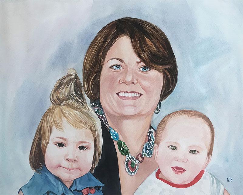 Beautiful watercolor artwork of a family