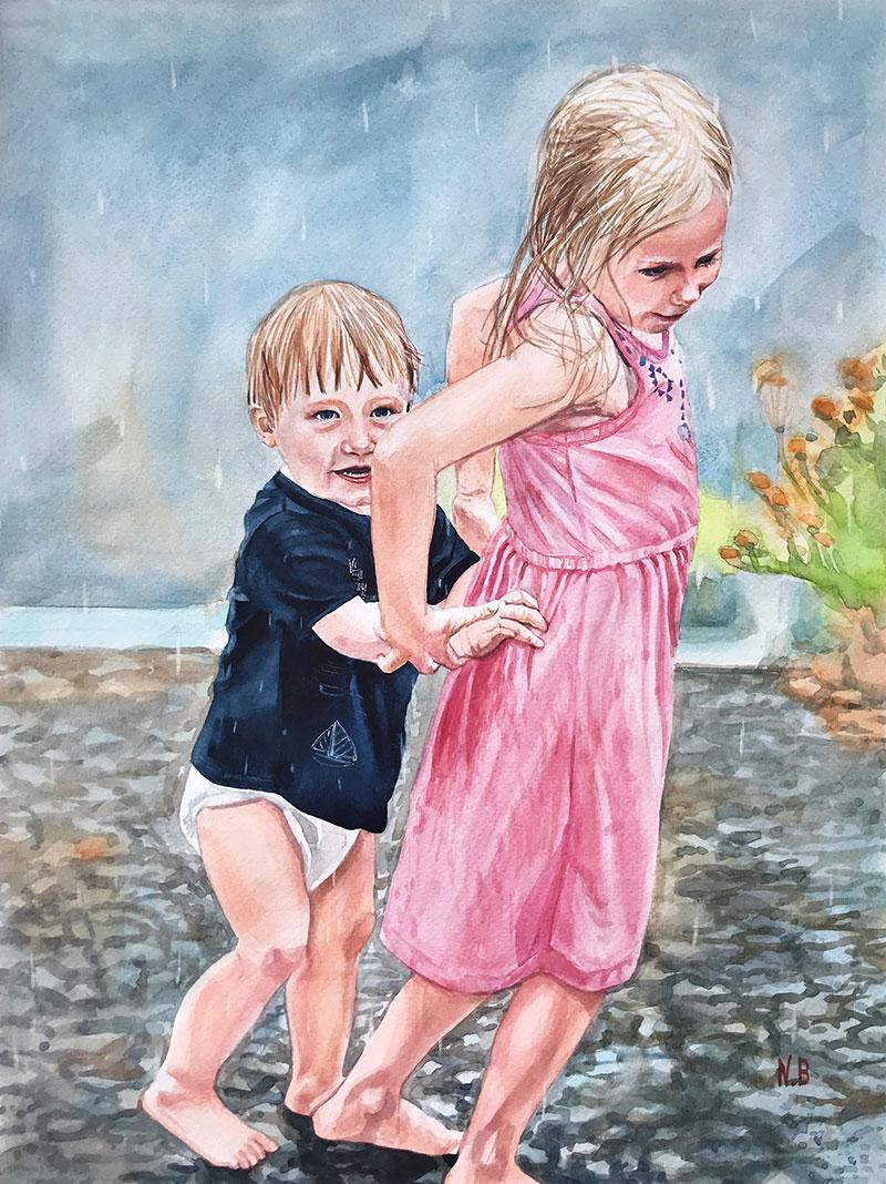 Beautiful watercolor painting of sibling enjoying the rain