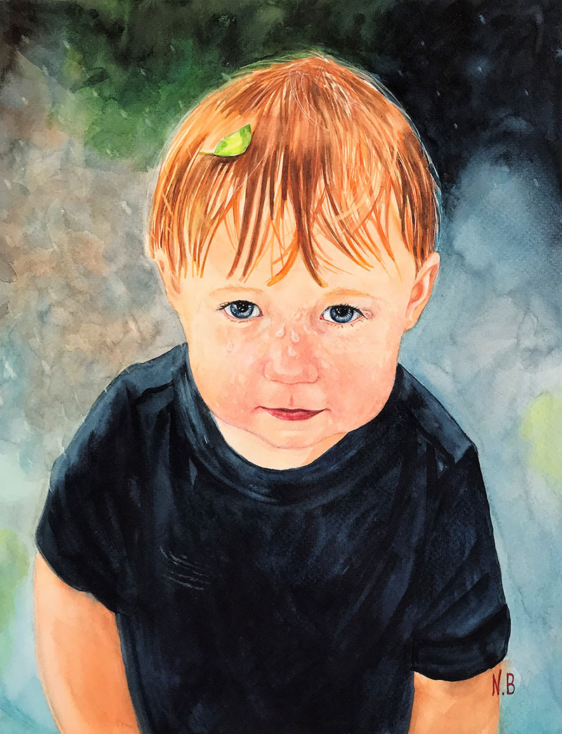 Gorgeous watercolor painting of a redhead little boy