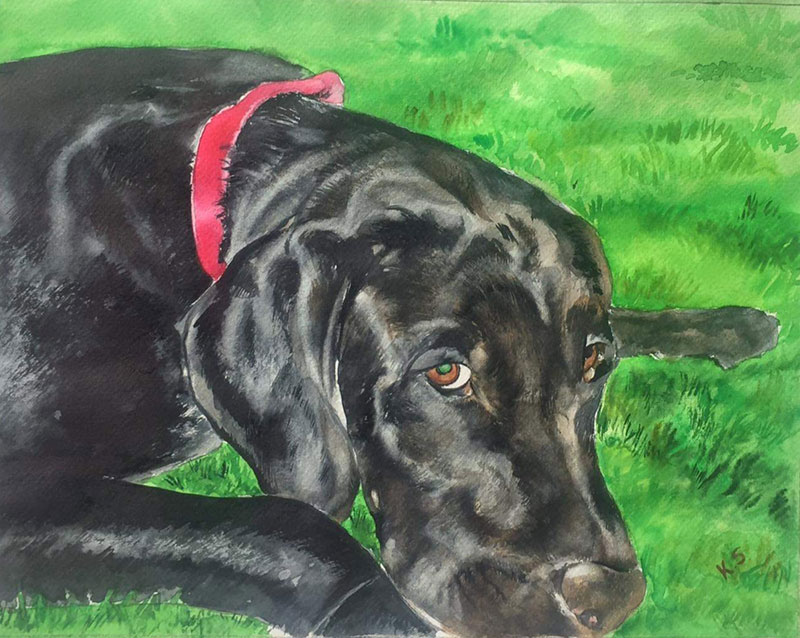 Custom watercolor painting of a black dog outdoors