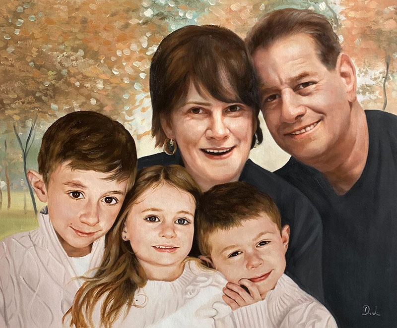 Gorgeous handmade oil painting of a family