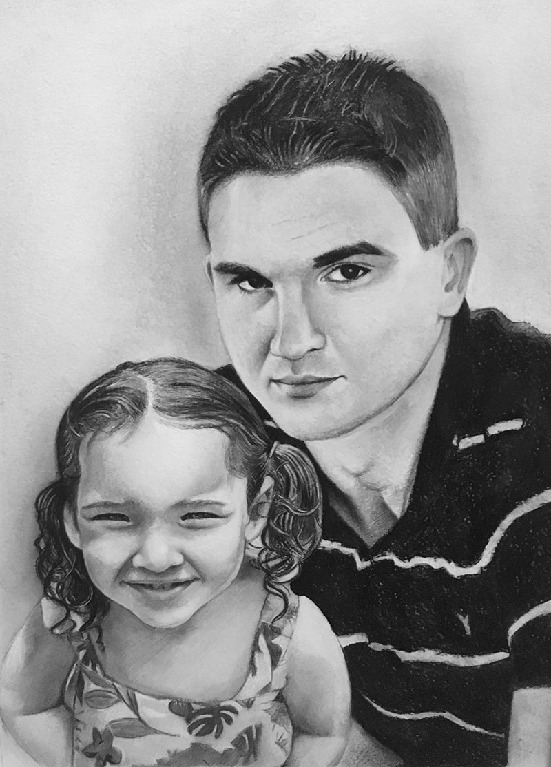 Custom handmade charcoal drawing of a father and daughter