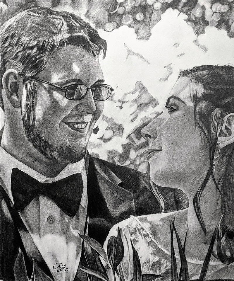 Beautiful charcoal drawing of a wedding couple