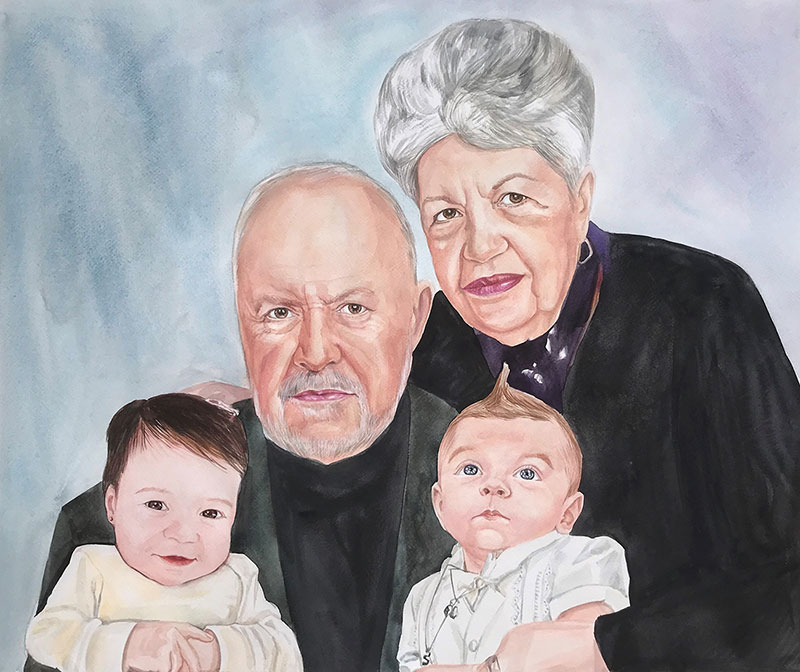 Custom handmade watercolor painting of a family
