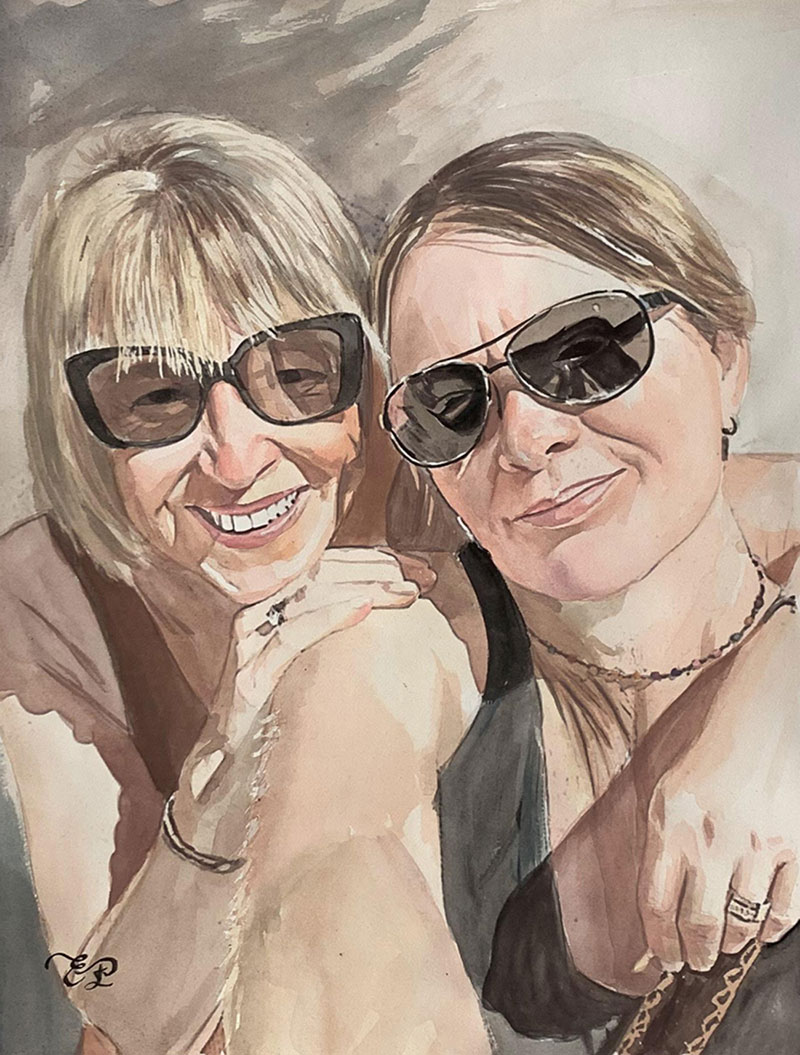 Gorgeous watercolor painting of two adults