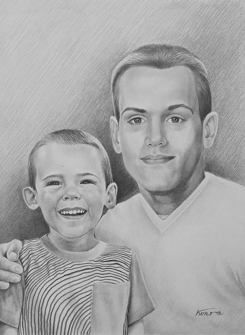 custom handmade black pencil drawing of a father and son