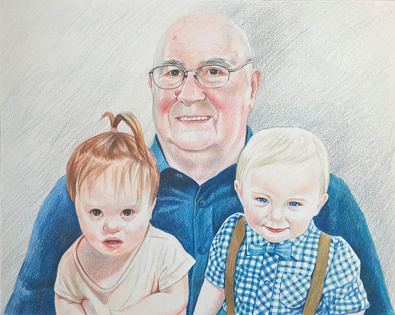 Custom color pencil drawing of an elder man with two kids
