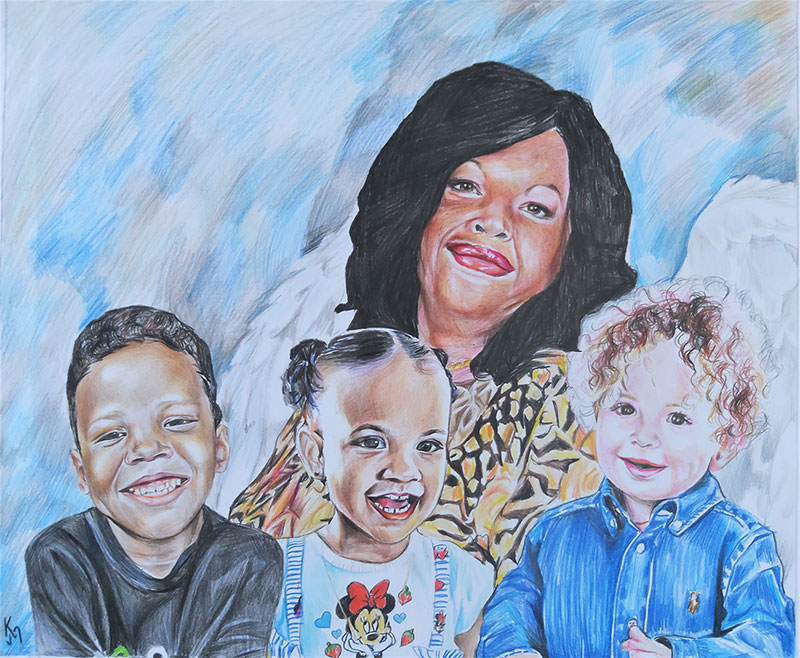 Gorgeous handmade color pencil drawing of a lady with kids