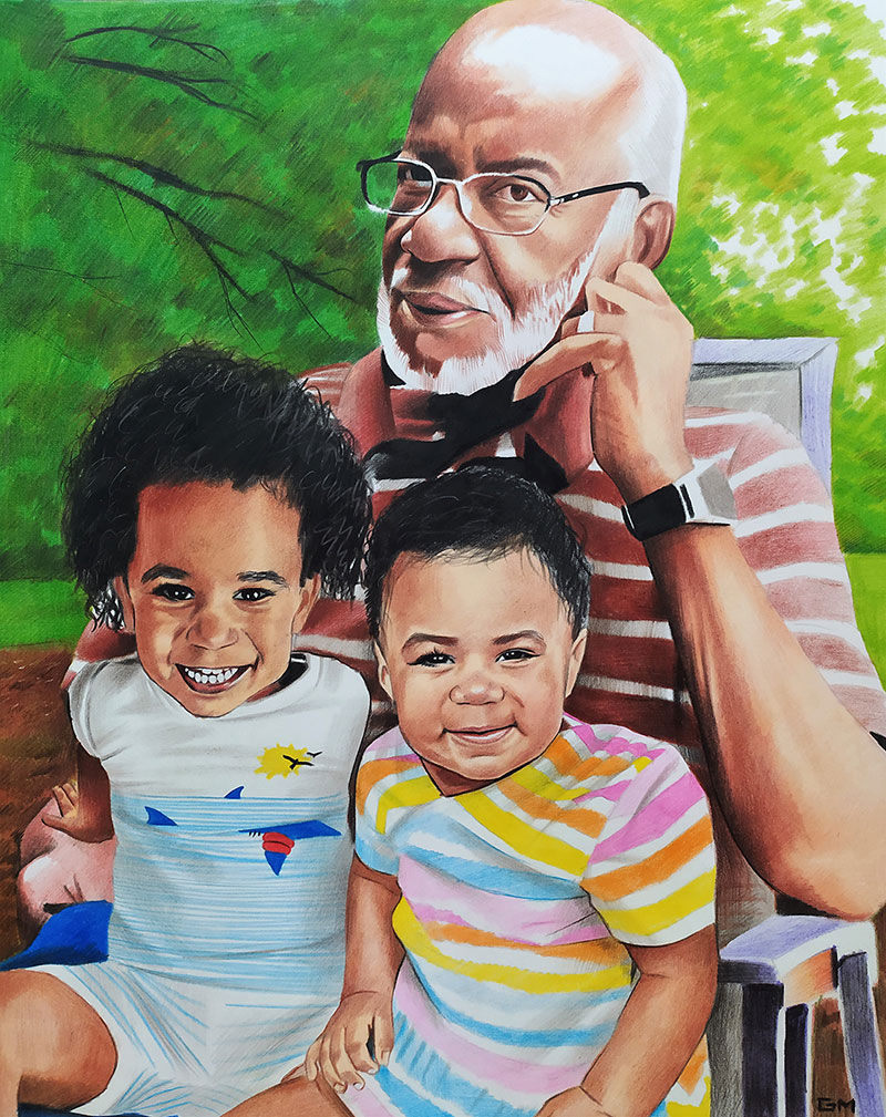 Beautiful color pencil drawing of a grandfather with kids
