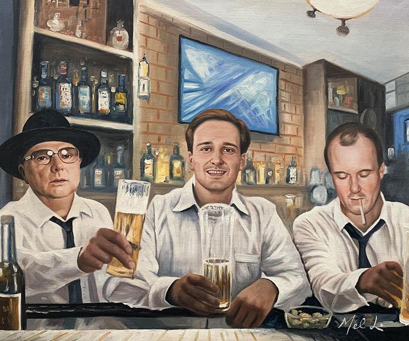 Custom oil painting of three gentlemen with beers