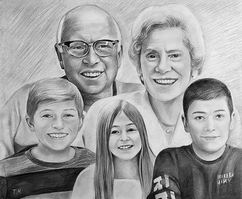 Gorgeous handmade charcoal drawing of a happy family
