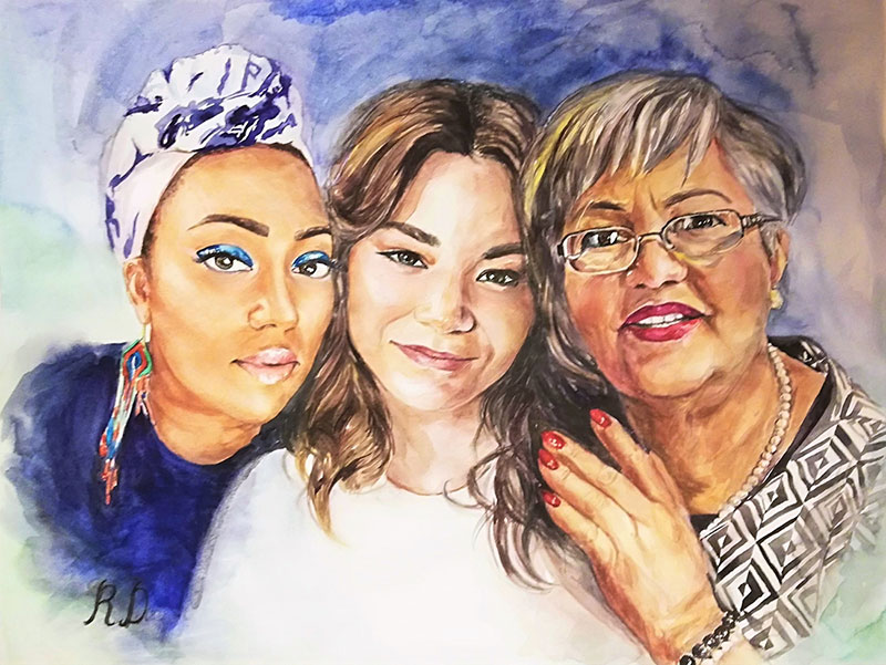 Gorgeous watercolor painting of three ladies