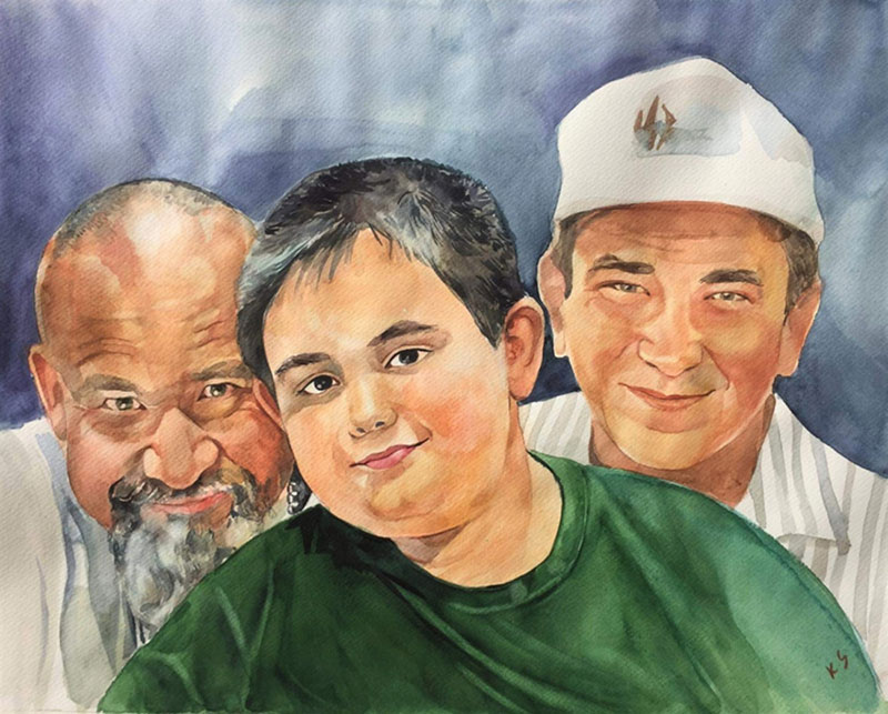 Custom watercolor painting of a happy family