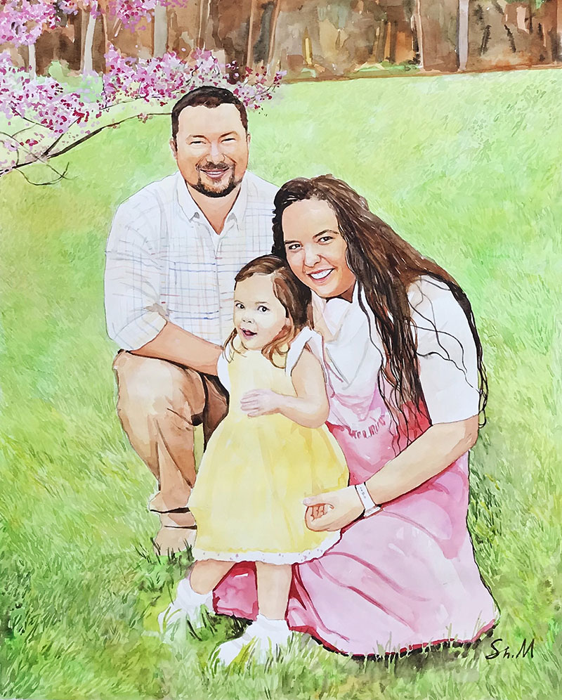 Beautiful watercolor painting of a couple with a child