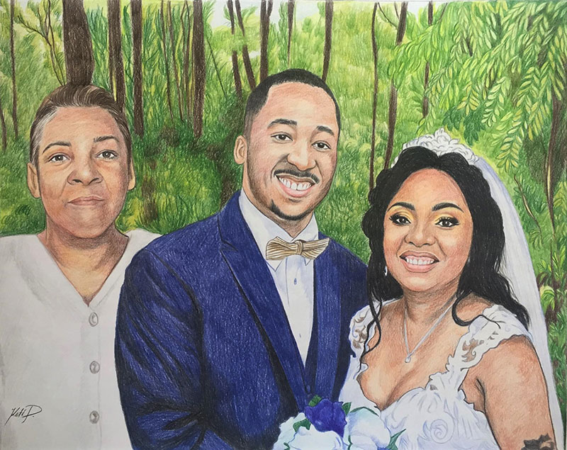 Custom color pencil drawing of a family on a wedding day