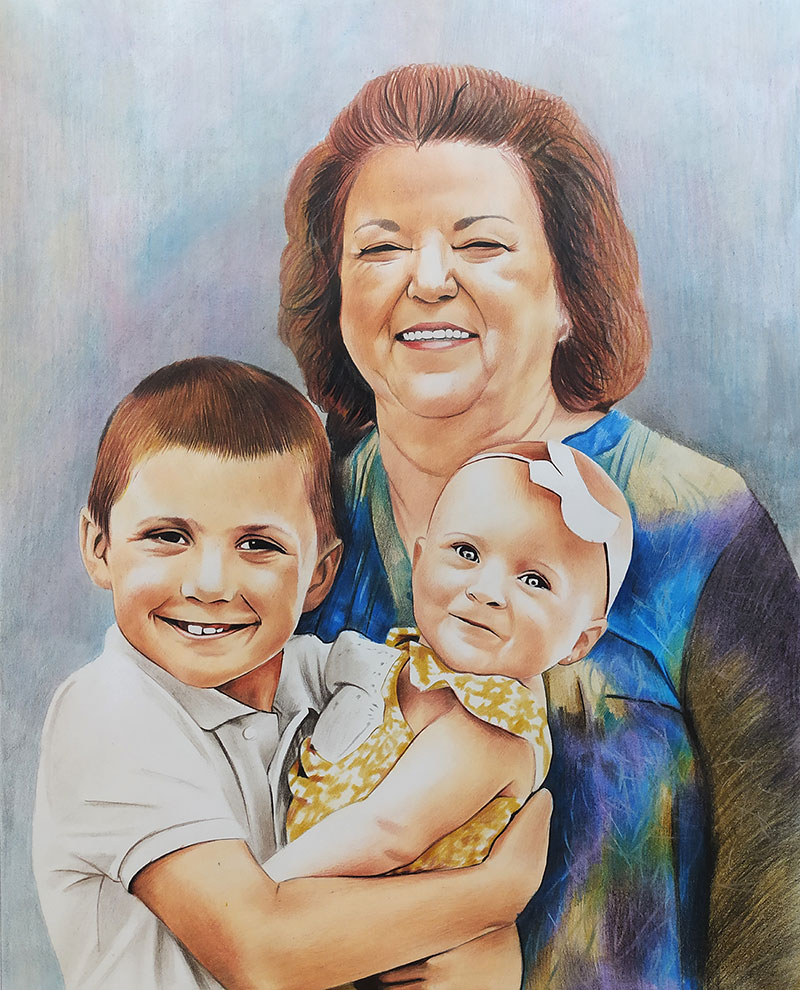 Custom color pencil drawing of a happy family