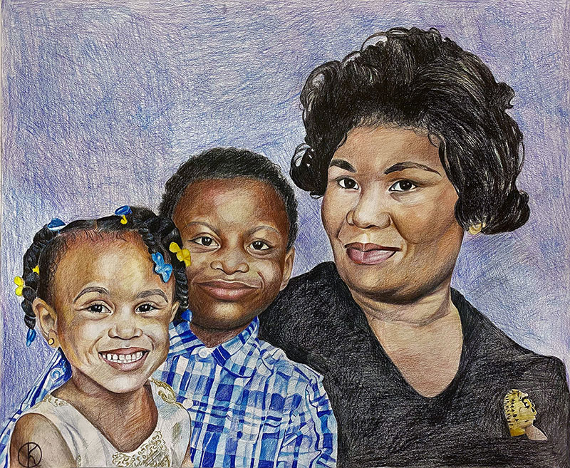 Beautiful color pencil drawing of a lady with two kids