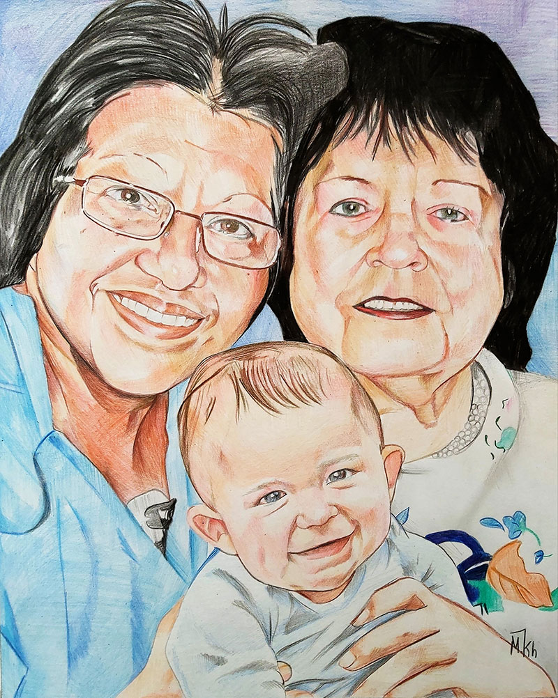 Beautiful color pencil drawing of two ladies with a baby boy