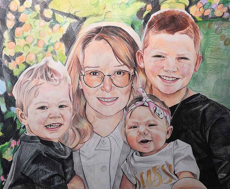 Gorgeous handmade color pencil drawing of a family