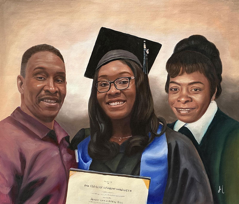 Custom acrylic painting of a graduate with parents