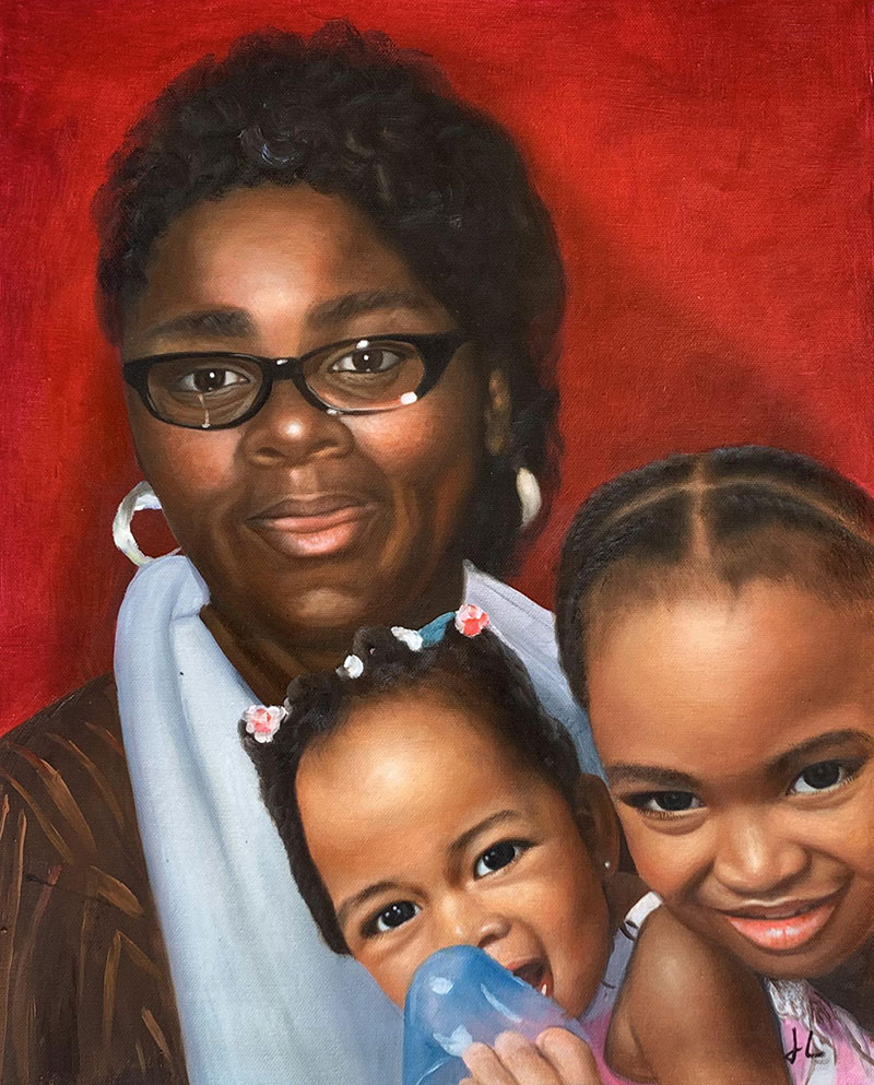 Beautiful acrylic painting of a lady with two little girls