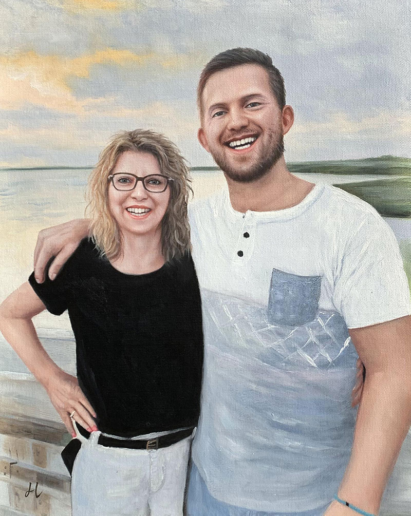 Beautiful oil painting of two smiling adults