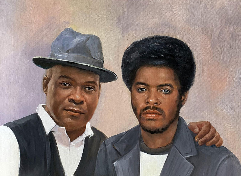 Custom handmade oil painting of a father and son