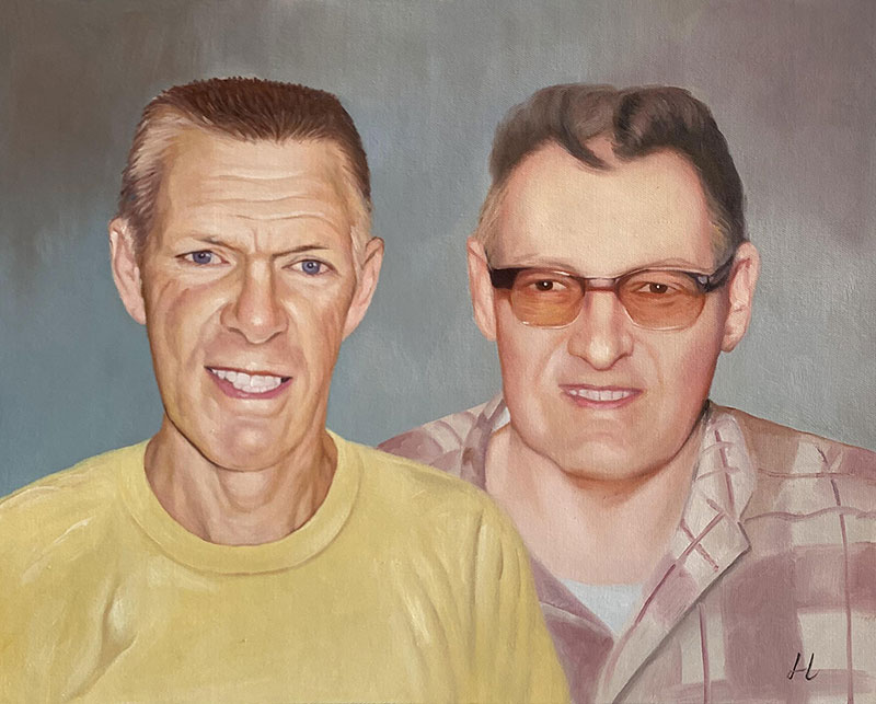 Handmade oil painting of two adults