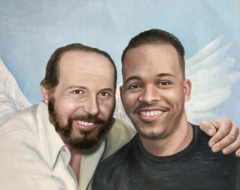 Custom oil painting of two adults with a blue background