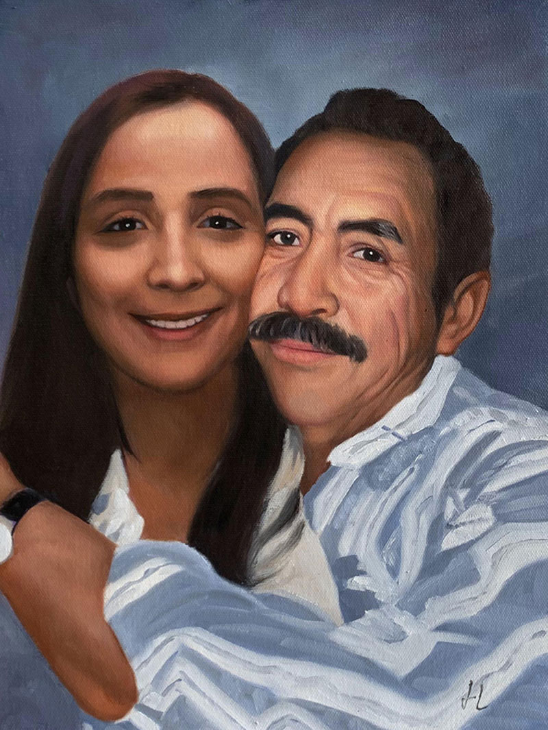 Beautiful handmade oil painting of a father and dauhter