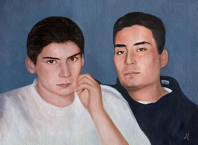 Personalized oil portrait of two adults