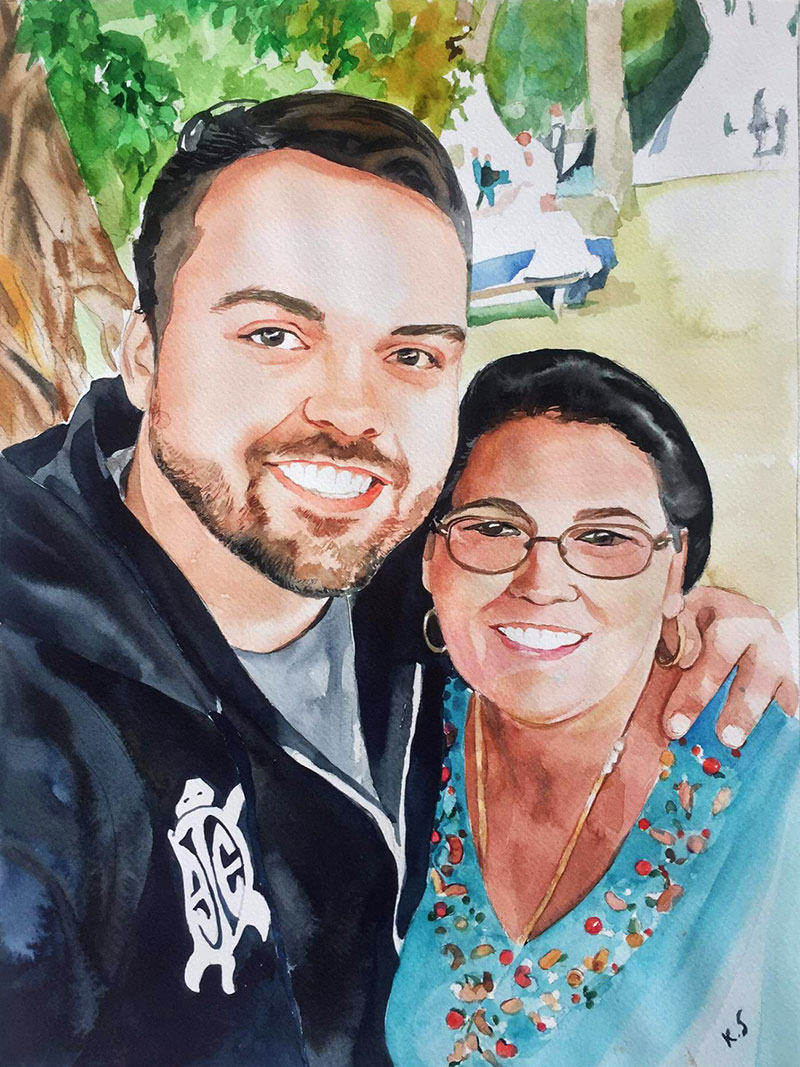 Custom handmade watercolor painting of a happy couple