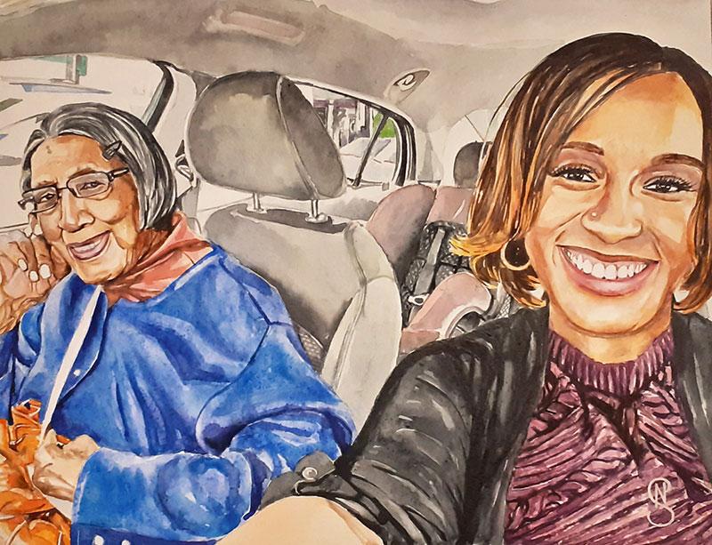 Custom handmade watercolor painting of two ladies