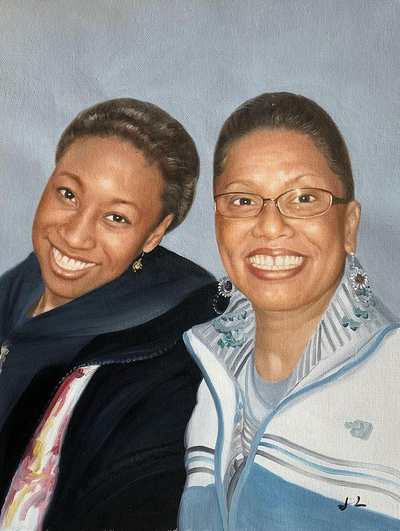 Custom oil painting of two ladies