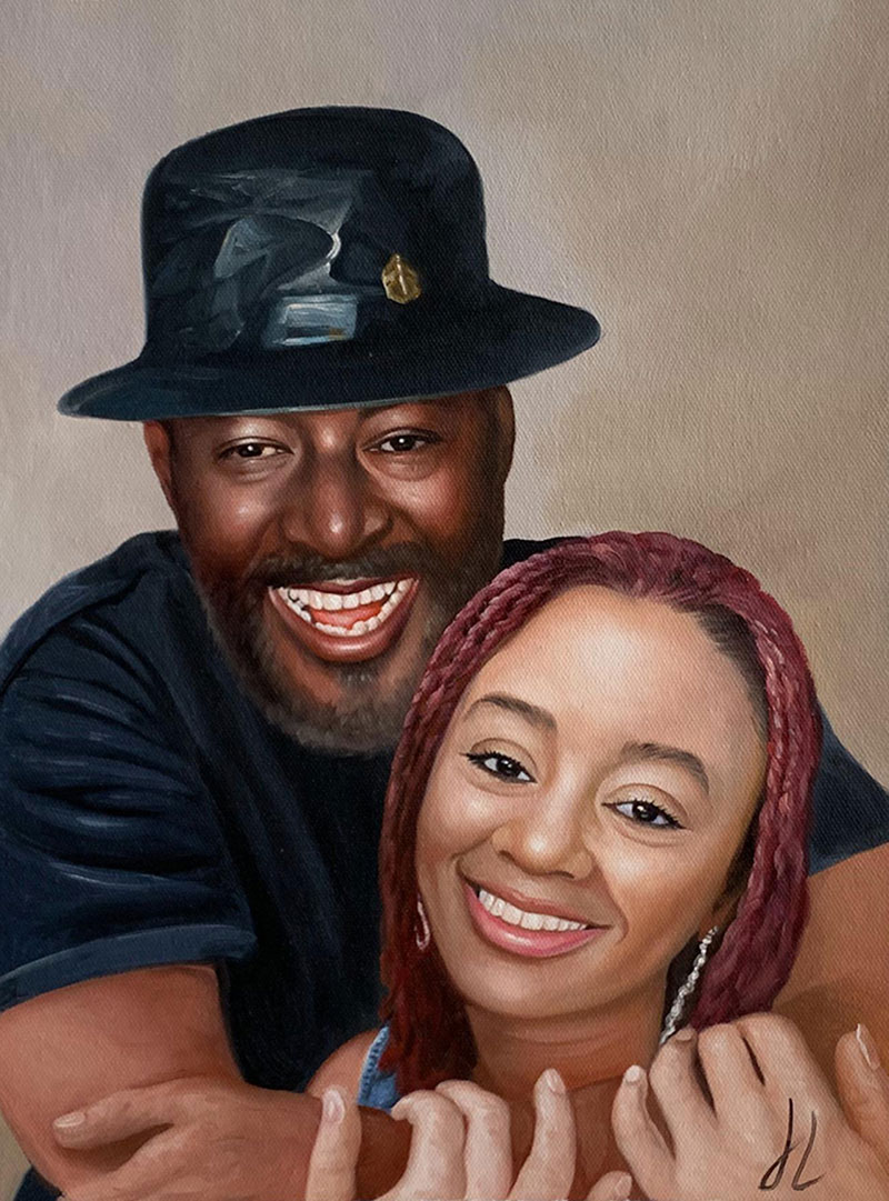 Beautiful handmade oil artwork of two adults