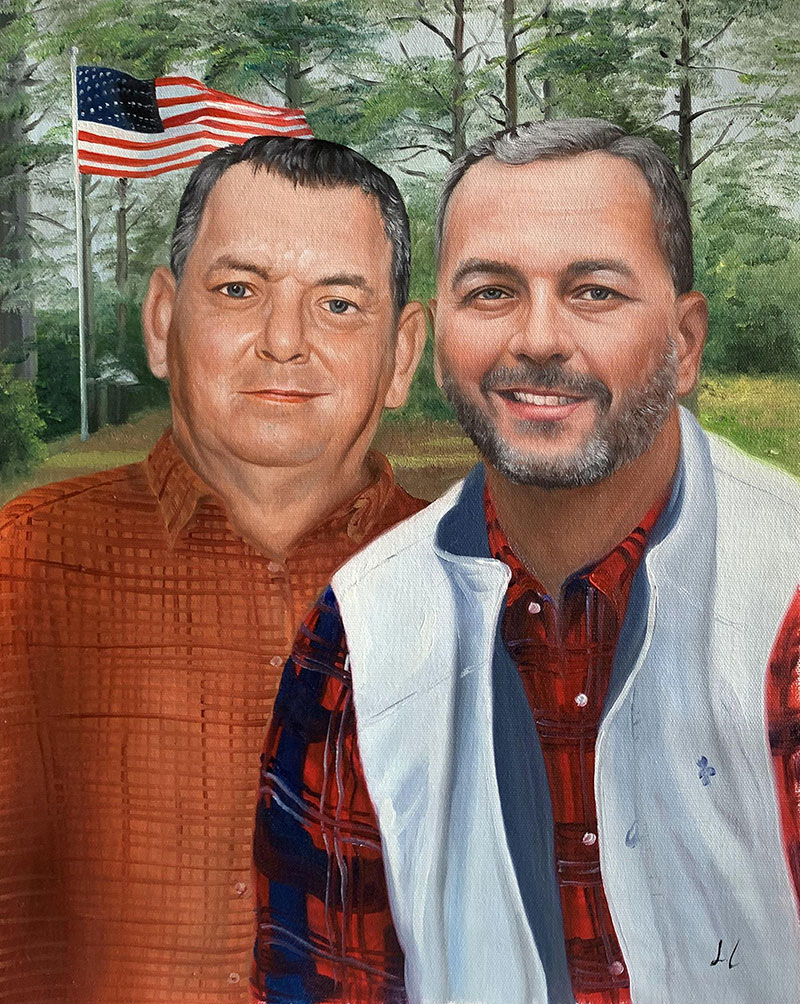 Custom handmade oil portrait of two adults