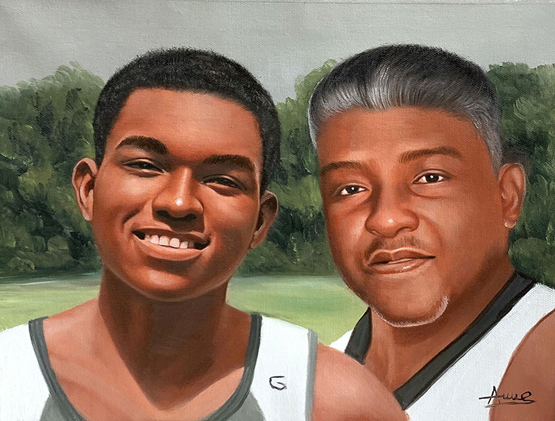 Custom acrylic painting of father and son