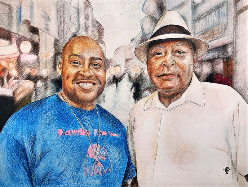 Custom color pencil drawing of two adults