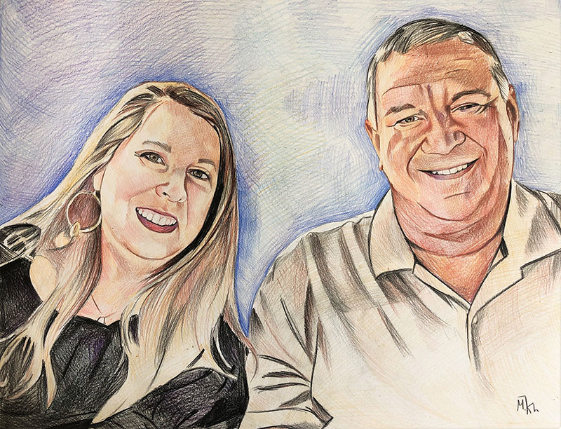 Custom handmade color pencil drawing of father and daughter