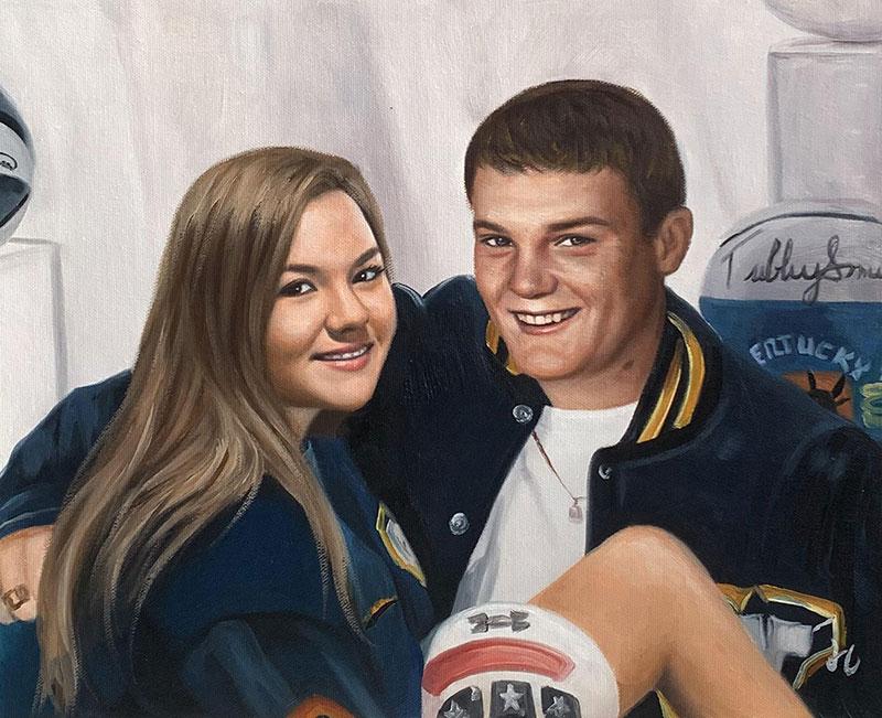 Beautiful handmade acrylic portrait of a couple