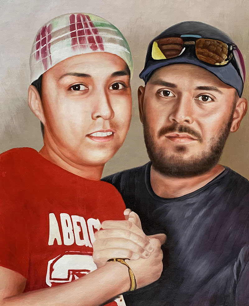 Custom acrylic painting of two adults