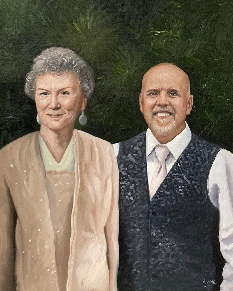 Gorgeous handmade acrylic portrait of an elder couple