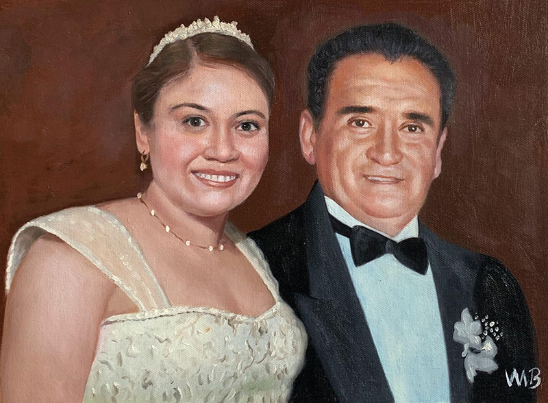 Beautiful acrylic painting of a bride with parent