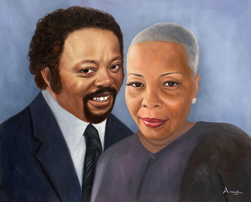 Custom handmade acrylic painting of two adults