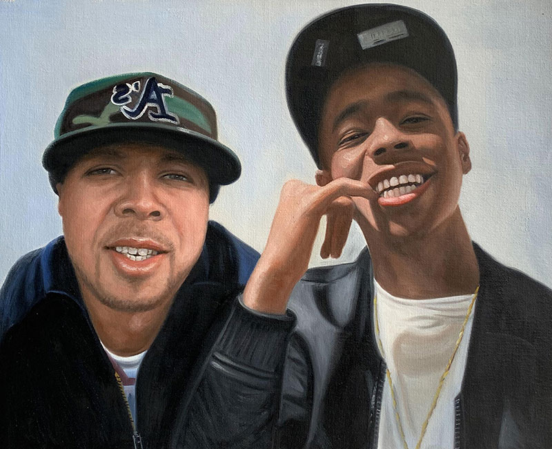 Personalized acrylic painting of two adults