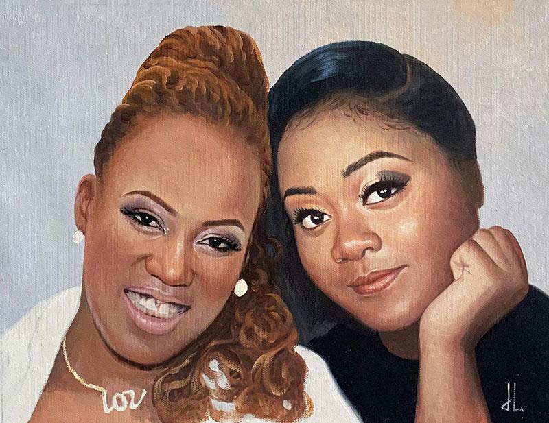 Beautiful acrylic portrait of two ladies