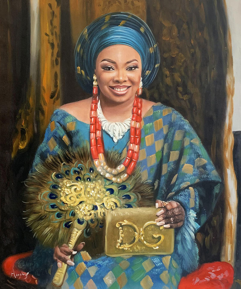 Beautiful handmade oil painting of a lady