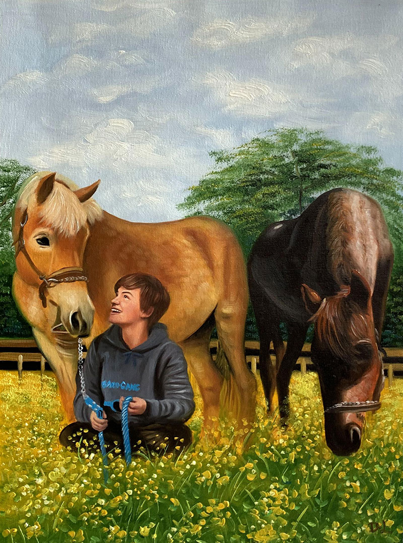 Custom handmade oil painting of a boy and a horse