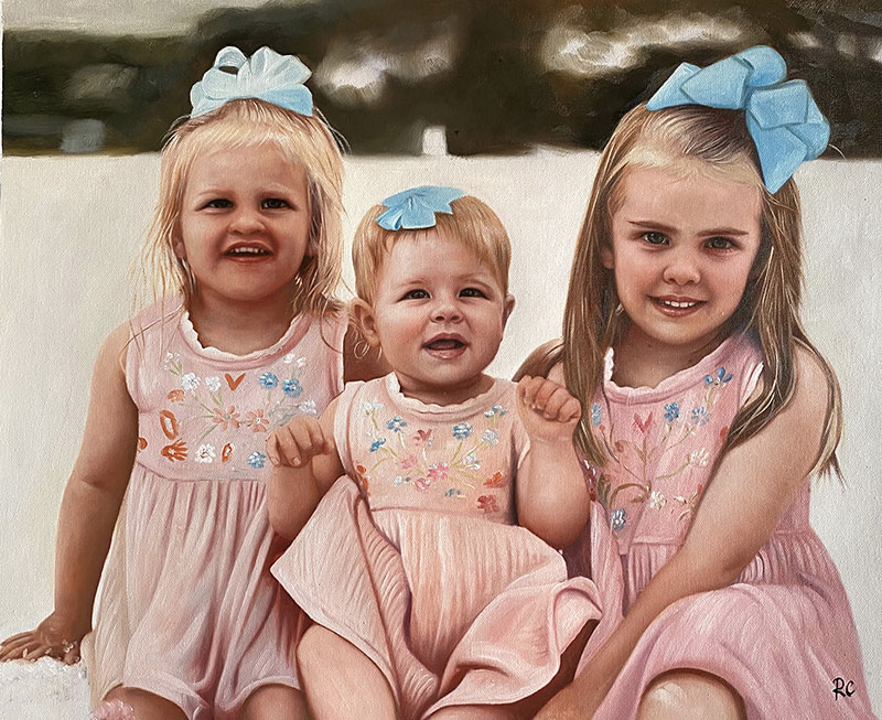 Custom handmade portrait of three little girls with blue bow